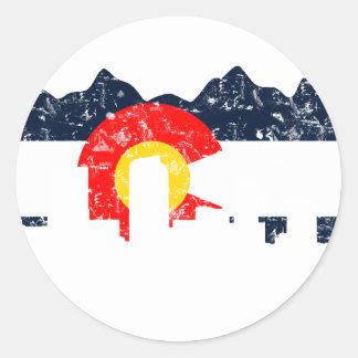 Bandera de Denver Colorado Pegatina Redonda
