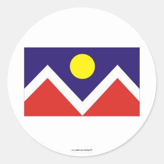 Bandera de Denver Etiqueta Redonda