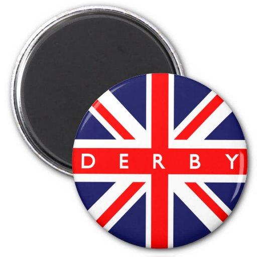 Bandera de Derby Reino Unido Imán Redondo 5 Cm