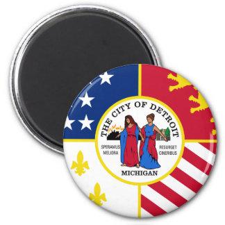 Bandera de Detroit Imán Redondo 5 Cm