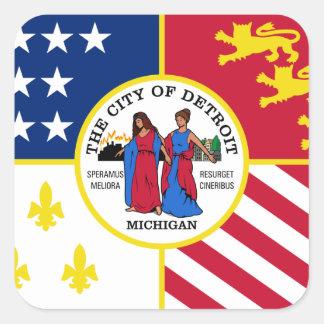 Bandera de Detroit Pegatina Cuadrada