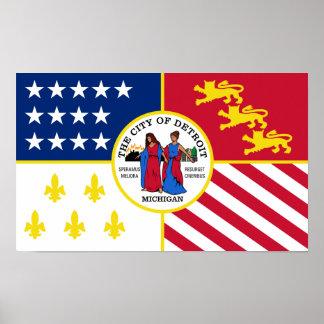 Bandera de Detroit Póster