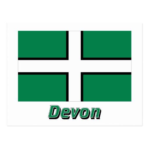 Bandera de Devon con nombre Tarjeta Postal