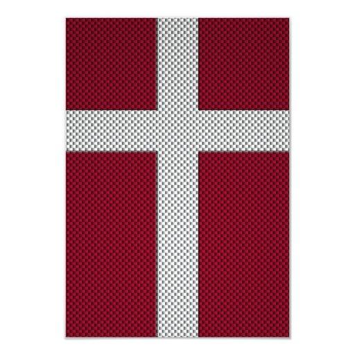 Bandera de Dinamarca con efecto de la fibra de Invitación 8,9 X 12,7 Cm