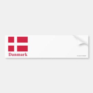 Bandera de Dinamarca con nombre en danés Pegatina Para Auto