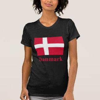 Bandera de Dinamarca con nombre en danés Playera