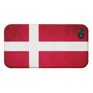 Bandera de Dinamarca del Grunge iPhone 4 Fundas