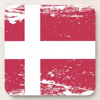 Bandera de Dinamarca del Grunge Posavasos De Bebida