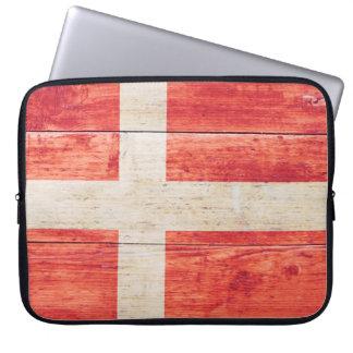 Bandera de Dinamarca en la madera Manga Computadora