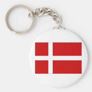 Bandera de Dinamarca Llavero Redondo Tipo Pin