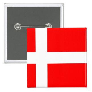 Bandera de Dinamarca Pin Cuadrado