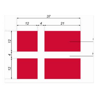 Bandera de Dinamarca-Proporción-DA, Dinamarca Postales