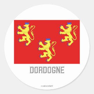 Bandera de Dordoña con nombre Etiqueta Redonda