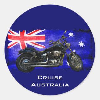 Bandera de Downunder del australiano, diseño del Pegatina Redonda