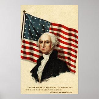 Bandera de E.E.U.U.-George Washington Póster