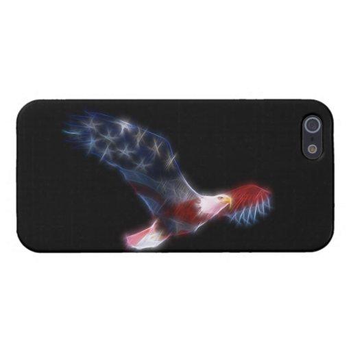 Bandera de Eagle calvo del fractal patriótica iPhone 5 Carcasa