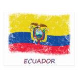 Bandera de Ecuador del Grunge Postales