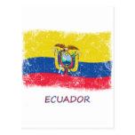 Bandera de Ecuador del Grunge Tarjetas Postales