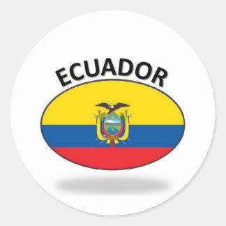 Bandera de Ecuador Etiqueta Redonda