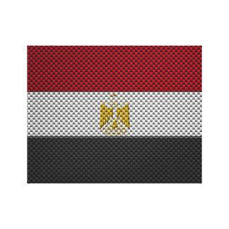 Bandera de Egipto con efecto de la fibra de carbon Impresiones En Lienzo Estiradas