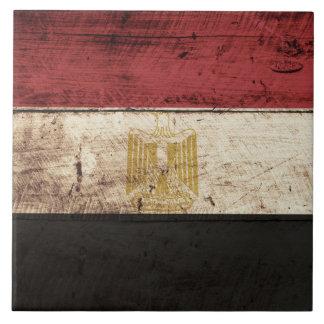 Bandera de Egipto en grano de madera viejo Azulejo Cuadrado Grande
