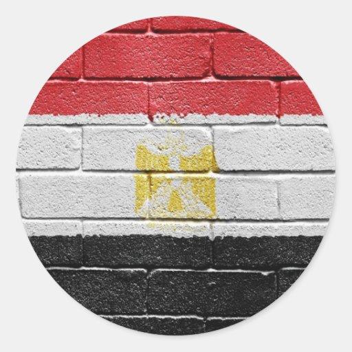 Bandera de Egipto Pegatina Redonda