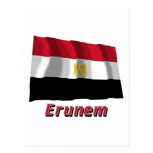 Bandera de Egipto que agita con nombre en ruso Postales