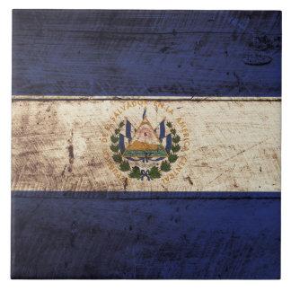 Bandera de El Salvador en grano de madera viejo Azulejo Cuadrado Grande