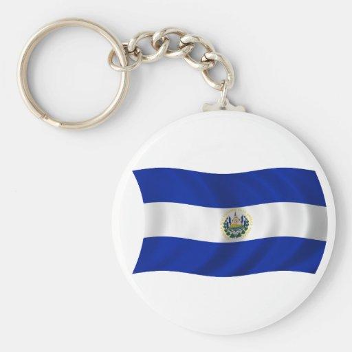 Bandera de El Salvador Llavero Redondo Tipo Pin