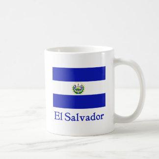 Bandera de El Salvador Taza Básica Blanca