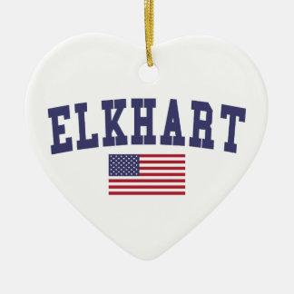 Bandera de Elkhart los E.E.U.U. Adorno Navideño De Cerámica En Forma De Corazón