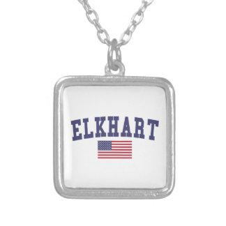 Bandera de Elkhart los E.E.U.U. Collar Plateado