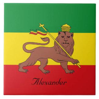 Bandera de encargo de Rastafarian del león de Azulejo Cuadrado Grande