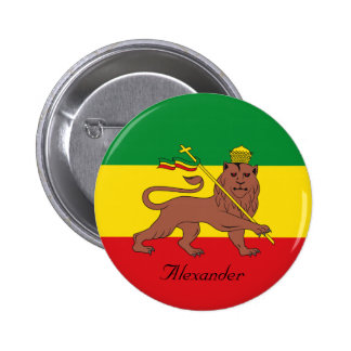 Bandera de encargo de Rastafarian del león de Pin Redondo De 2 Pulgadas