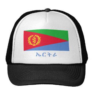 Bandera de Eritrea con nombre en Tigrinya Gorros Bordados