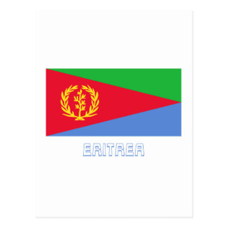 Bandera de Eritrea con nombre Tarjeta Postal
