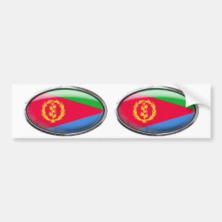 Bandera de Eritrea en el óvalo de cristal Pegatina Para Auto