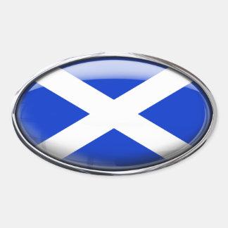 Bandera de Escocia en el óvalo de cristal (paquete Pegatina Ovalada