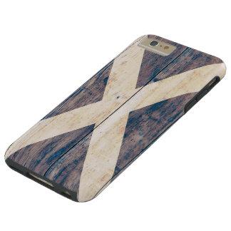 Bandera de Escocia en la madera Funda De iPhone 6 Plus Tough
