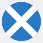 Bandera de Escocia - recuerdo escocés de la Pegatina Redonda