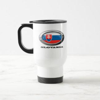 Bandera de Eslovaquia en el marco de acero Tazas De Café