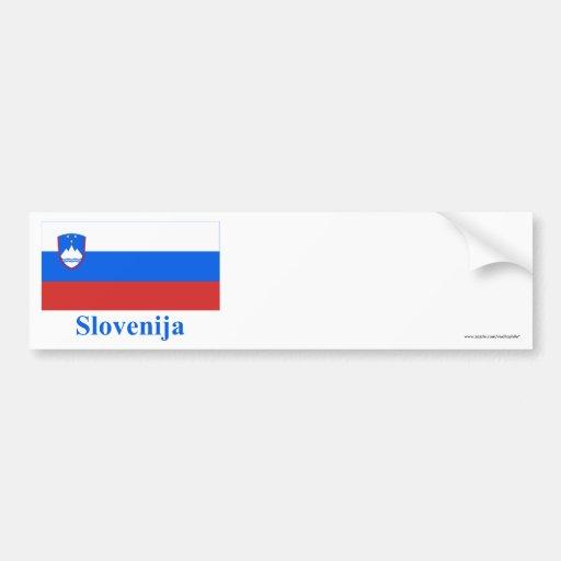 Bandera de Eslovenia con nombre en esloveno Pegatina De Parachoque