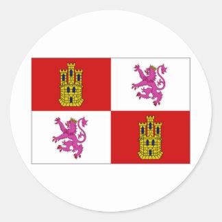 Bandera de España Castilla León Pegatina Redonda