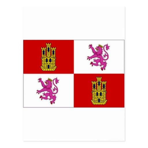 Bandera de España Castilla León Tarjetas Postales