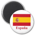 Bandera de España con nombre en español Imanes De Nevera
