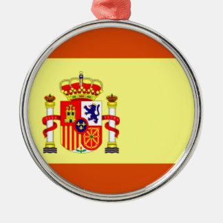 Bandera de España Adorno Redondo Plateado