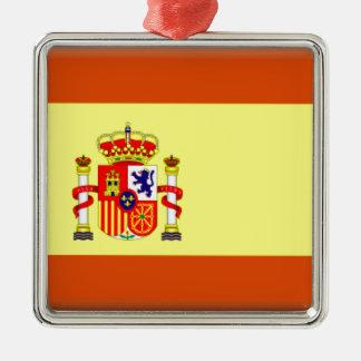Bandera de España Adorno Cuadrado Plateado