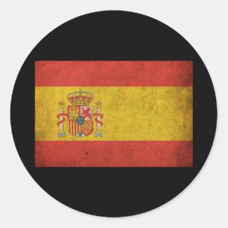 Bandera de España del vintage Etiqueta Redonda
