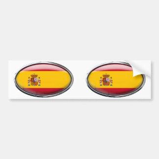 Bandera de España en el óvalo de cristal Pegatina De Parachoque