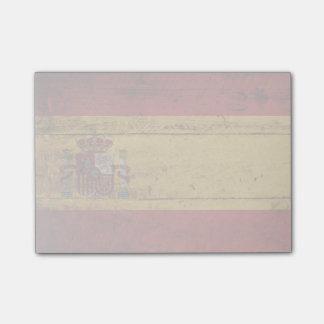Bandera de España en grano de madera viejo Nota Post-it